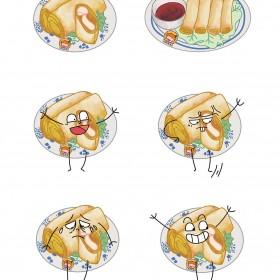 春卷、鸡蛋饼、杂粮煎饼、肉夹馍、鸡肉卷 (5)