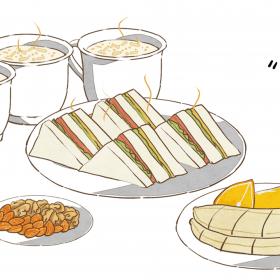 早餐  牛奶 三明治 (1)